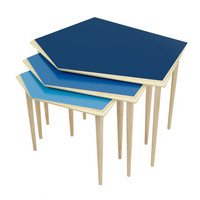 Nest of 3 wooden blue side tables / mid-century modern side table / wooden coffee table available in different colors