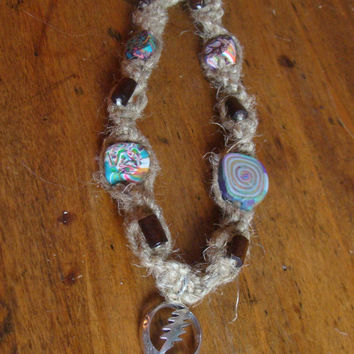Hemp Psychedelic Steal Your Face Necklace by IzzaBean on Etsy