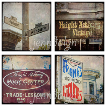 Haight Ashbury II - set of FOUR PHOTOS, San Francisco photography, Haight Ashbury sign, street signs, vintage signs, photography gift set