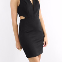 Black Bodycon Dress With Side Cut Outs