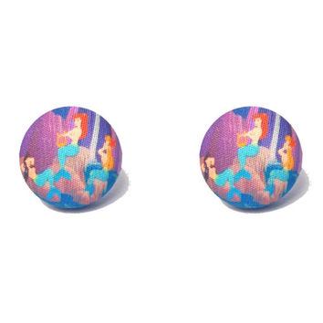 "Handmade ""Mermaid Lagoon"" Peter Pan Mermaid Inspired Fabric Covered Button Earrings size 3/4"""