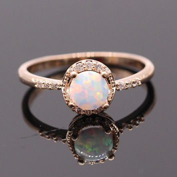 Beautiful Cute Simple Round Jewelry White Fire Opal Ring, Moonstone Ring, Gold Plated Sunstone Ring, Labradorite Ring, Woman Ring - OR01