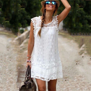 Lace Ruffled Elegant Lovely Sleeveless Short Dress