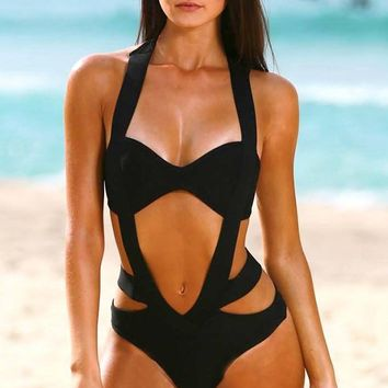 Private Cabana Black Sleeveless Halter Cut Out One Piece Bandage Swimsuit