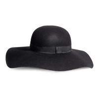 H&M - Floppy Hat in Wool - Black - Ladies