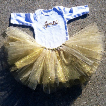 Sparkly Gold Tutu outfit, gold glitter tutu outfit - Christmas outfit, choose your size - infant, toddler, child