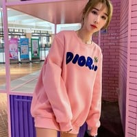 Dior autumn and winter new men and women sweater  trend couple models print Sweater