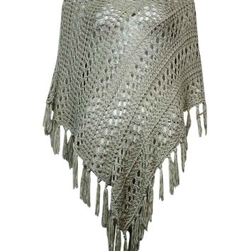 Style & Co. Women's Crochet Fringe Trim Poncho