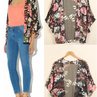 'The Shelby' Floral Chiffon Cardigan