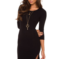 Rita Ribbed Dress - Black