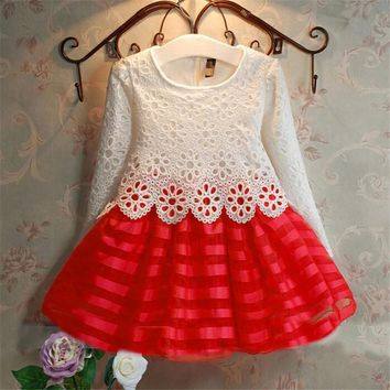 Girl Dress 3-7 Years Toddler Crochet Lace Sleeve wedding