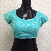 Beautiful Embroidered Blouse-Blue