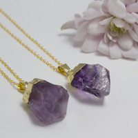 Raw Purple Amethyst Point Necklace in Electroplated Gold - Gold Plated Necklace