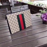 GUCCI MEN'S NEW STYLE LEATHER ZIPPER HAND BAG