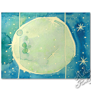 Abstract watercolor painting,full moon,turquoise art, original artwork on acid free paper, 6.2 x 4.7 inches