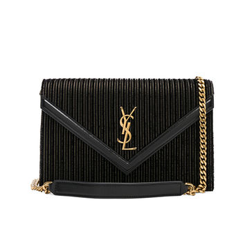 Saint Laurent Velvet & Leather Monogramme Le Sept Chain Bag in Black, Gold & Silver | FWRD