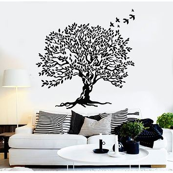 Vinyl Wall Decal Tree Leaves Branch Beautiful Decor Birds Stickers Mural (g2679)