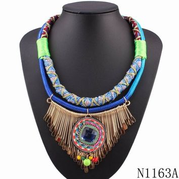 neon colorful bib rope statement crystal pendant necklace