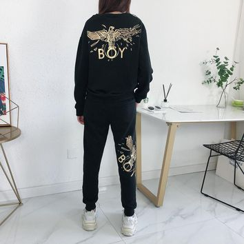 """""""Boy London"""" Unisex Casual Letter Pocket Eagle Gold Stamping Sweatpants Couple Thickened Leisure Pants Trousers"""