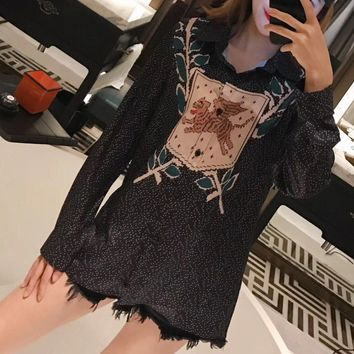 """Gucci"" Women Casual Fashion Fly Tiger Long Sleeve Cardigan Lapel Shirt Tops"