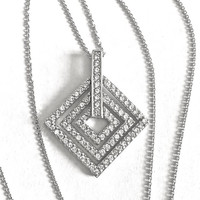 Art Deco Design Concentric 925 Silver and CZ Articulated Squares Pendant, Set with Small Faceted CZ's - 24 Inch Sterling Cable Chain