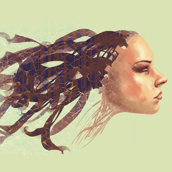 Sci-fi art PRINT of digital painting, surreal girl portrait poster, floating hair, GICLEE PRINT, green brown home decor, surreal girl poster