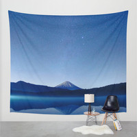 Wall Tapestry, Mountain Tapestry,Wall Hanging,Blue Mountain, Stars Night Sky,Nature Wall Art,Large Photo Wall Art,Modern Tapestry,Home Decor