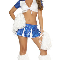 White and Blue Sequined Cropped Top and Mini Skirt Cheerleader Costume