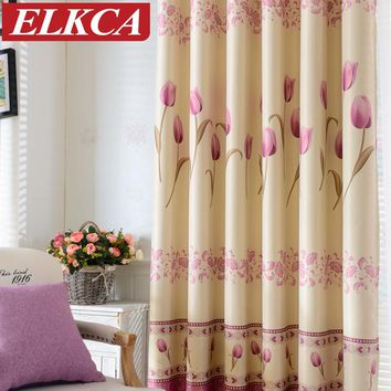 Tulip Printed Thick Blackout Curtains for Living Room Window Curtains for Bedroom Modern Curtains Panel/Drapes