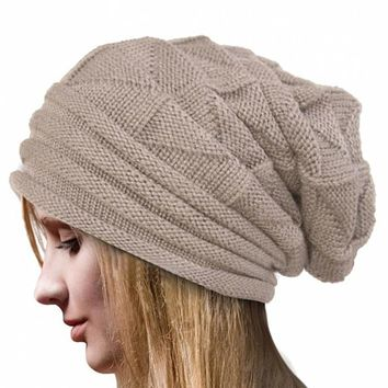 High Quality New Autumn Winter Women Fashion Warm Crochet Wool Knit Hip Pop Cycle Outdoor Beanies Skullies Slouchy Cap Hat Nov7