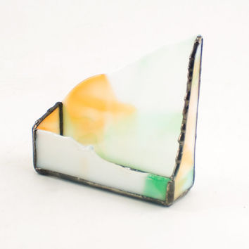 Business Card Holder for Desk, Desk Accessories for Men, Cool Office Decor, Desktop Stand, Stained Glass Display, Business Gifts for Boss