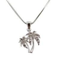 Waikiki Hawaii Tropical Beach Palm Tree with Crystals mini necklace