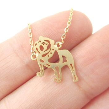 Classic Bulldog Cut Out Shaped Pendant Necklace in Gold | Animal Jewelry