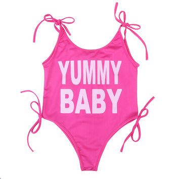Kids Baby Girl Clothing Bodysuits Swimsuit Swimwear Bathing Suit Letter Pink Cute Sleeveless Clothes Baby Girls