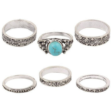 6 Pcs Etched Faux Turquoise Charm Rings