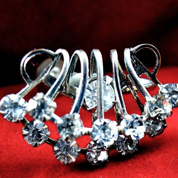 Rhinestone earrings 1940's glam triple row prom wedding or evening accesory