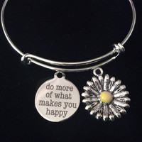 Do More of What Makes You Happy Sunflower Silver Expandable Charm Bracelet Adjustable Wire Bangle Gift