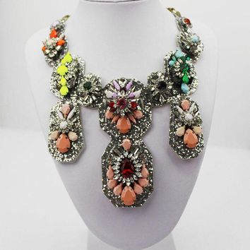 LMFLD1 Colorful Shourouk New Design Woman Bib Statement Luxury Rainbow Multi Crystal necklace Collar 898
