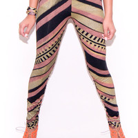 Hand Printed Zig Zag Leggings in Gold Rose and by thiefandbandit