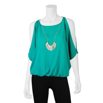 IZ Byer California Bubble Hem Cold-Shoulder Peasant Top & Necklace - Juniors, Size: