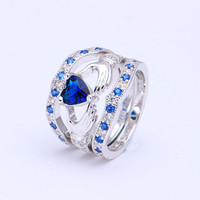 Hot new Blue Sapphire white Princess Wedding band women crown heart hand love royal blue zirconia diamond Engagement Ring Sets