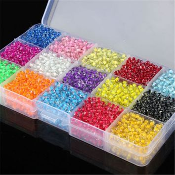 500+ Colored Core Glass Crystal Spacers Seed Beads for DIY Jewelry Making 4mm*3.2mm