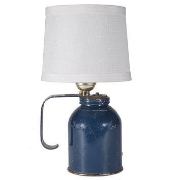 Vintage Rustic Blue Handled Can Up-cycled Mini Lamp
