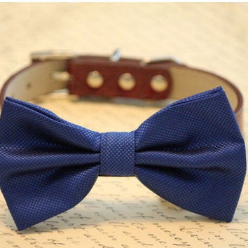 Royal Blue and brown dog bow tie - high quality leather and fabric, Blue Brown Wedding accessory, some thing blue