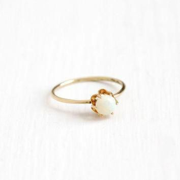 DCCKHD9 Antique 14k Yellow Gold Opal Solitaire Ring - Edwardian Round Gemstone Size 7 Stick P