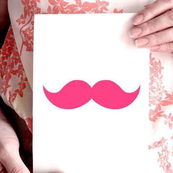 Neon Pink Moustache, Wall Decor, Art Print, Wall Art, Motivational Print, Inspirational Poster, Teen Gift Ideas, Shabby Chic - PT0168