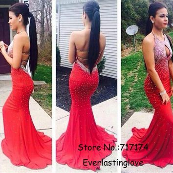 Halter Neckline Heavy Beading Pearl Red Chiffon Mermaid Prom Dresses Open Back Hot Sale 2015 Evening Gowns vestidos gala