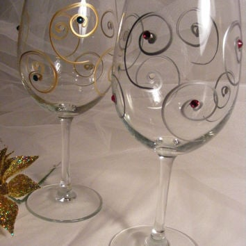 Christmas wine glasses with Gold and Silver swirls with  Swarovski crystals