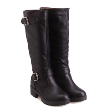 Knee-High PU Boots With Buckle Design