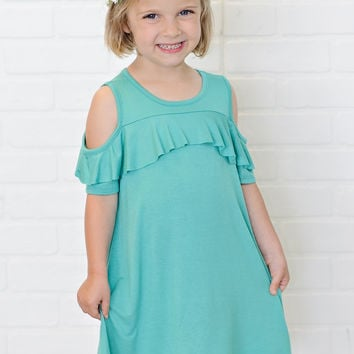 * Angie Toddler Cold Shoulder Ruffle Dress : Mint -  ( 2T, 3T, 4T)